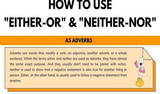 بررسی ساختار either….or و neither….nor